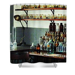 Desk With Bottles Of Chemicals Shower Curtain by Susan Savad