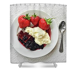 Dessert With Strawberries And Whipped Cream Shower Curtain by GoodMood Art