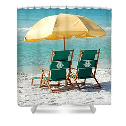 Destin Florida Beach Chairs And Yellow Umbrella Square Format Shower Curtain by Shawn O'Brien