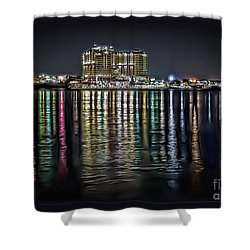 Destin Night Across The Estuary Shower Curtain