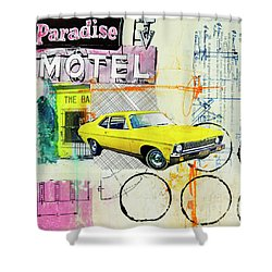 Shower Curtain featuring the mixed media Destination Paradise by Elena Nosyreva