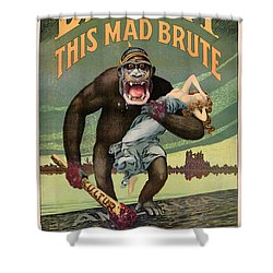 Destroy This Mad Brute - Restored Vintage Poster Shower Curtain