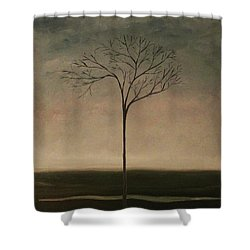 Shower Curtain featuring the painting Det Lille Treet - The Little Tree by Tone Aanderaa