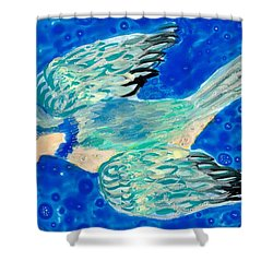 Detail Of Bird People Flying Bluetit Or Chickadee Shower Curtain by Sushila Burgess