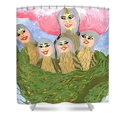 Detail Of Bird People The Chaffinch Family Nest Shower Curtain by Sushila Burgess
