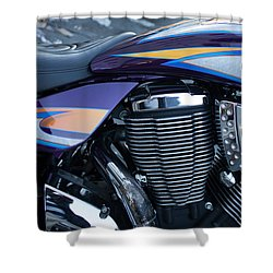 Detail Of Shiny Chrome Cylinder And Engine On Cruiser Motorcycle Shower Curtain