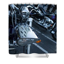 Detail Of Shiny Chrome Headlight On Cruiser Style Motorcycle Shower Curtain