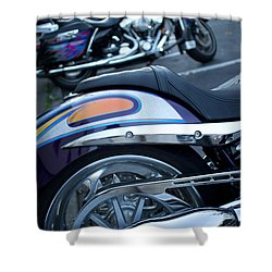 Detail Of Shiny Chrome Tailpipe And Rear Wheel Of Cruiser Style  Shower Curtain