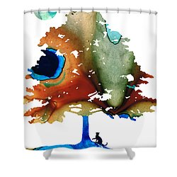 Determination - Colorful Cat Art Painting Shower Curtain by Sharon Cummings