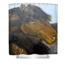Shower Curtain featuring the painting Determination by Saundra Johnson