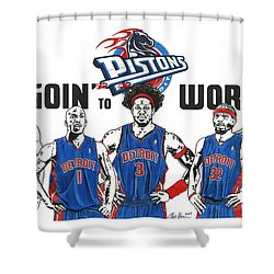 Detroit Goin' To Work Pistons Shower Curtain