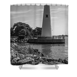 Detroit Lighthouse In Black And White  Shower Curtain