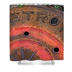 Detroit Manhole Cover Spray Painter Red Shower Curtain by Sandra Church
