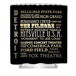 Detroit Michigan Famous Landmarks Shower Curtain