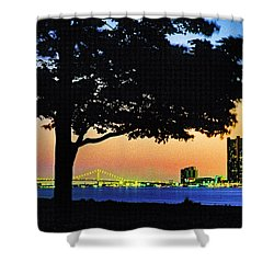 Detroit River View Shower Curtain by Dennis Cox WorldViews
