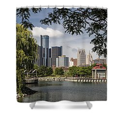 Detroit Skylin And Marina  Shower Curtain by John McGraw
