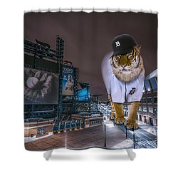 Shower Curtain featuring the photograph Detroit Tigers At  Comerica Park by Nicholas  Grunas