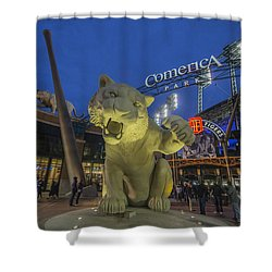 Detroit Tigers Comerica Park Front Gate Tiger Shower Curtain