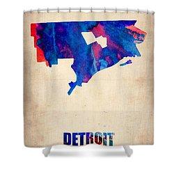 Detroit Watercolor Map Shower Curtain by Naxart Studio