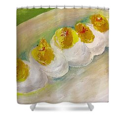 Devilled Eggs Shower Curtain by Lisa Kaiser