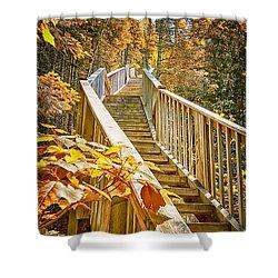 Devil's Kettle Stairway Shower Curtain by Linda Tiepelman