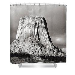 Shower Curtain featuring the photograph Devil's Tower Black And White by Nicholas Blackwell
