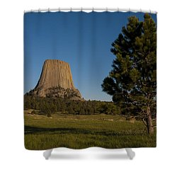 Shower Curtain featuring the photograph Devil's Tower by Gary Lengyel