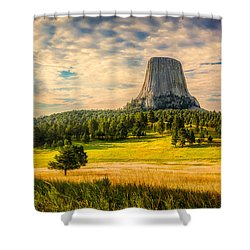 Shower Curtain featuring the photograph Devil's Tower - The Other Side by Rikk Flohr