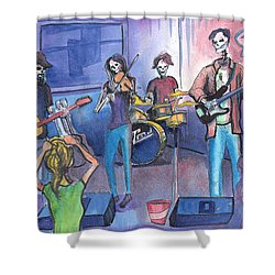 Shower Curtain featuring the painting Dewey Paul Band by David Sockrider