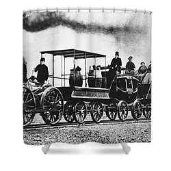 Dewitt Clinton Locomotive Shower Curtain by Omikron