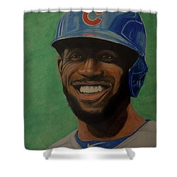 Shower Curtain featuring the drawing Dexter Fowler Portrait by Melissa Goodrich