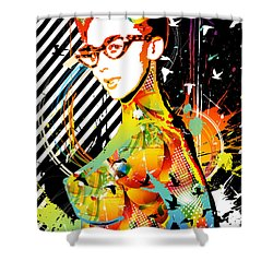 Dexterous Dame Shower Curtain by Chris Andruskiewicz