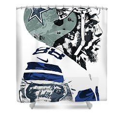 Shower Curtain featuring the mixed media Dez Bryant Dallas Cowboys Pixel Art 4 by Joe Hamilton