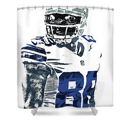 Shower Curtain featuring the mixed media Dez Bryant Dallas Cowboys Pixel Art 5 by Joe Hamilton
