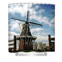 Shower Curtain featuring the photograph Dezwaan Windmill With Fence And Clouds by Michelle Calkins