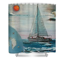 Ireland Canada Links..'' Northabout '' Rounding The North West Passage Shower Curtain