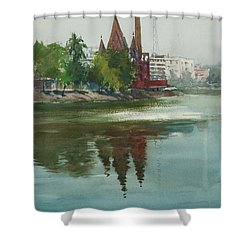 Shower Curtain featuring the painting Dhanmondi Lake 04 by Helal Uddin