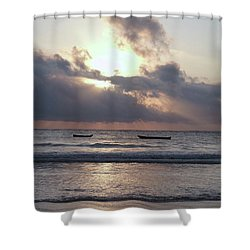 Dhow Wooden Boats At Sunrise 1 Shower Curtain