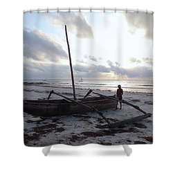 Dhow Wooden Boats At Sunrise With Fisherman Shower Curtain
