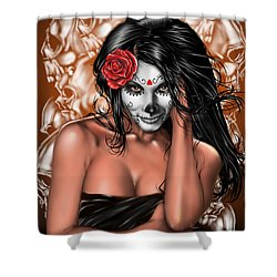 Dia De Los Muertos Remix Shower Curtain by Pete Tapang