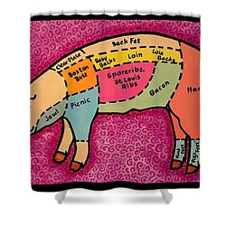 Diagramed Pig Shower Curtain