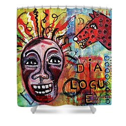 Dialogue Between Red Dawg And Wildwoman-self Shower Curtain