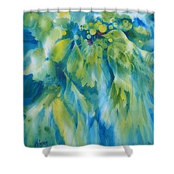 Dialogue Shower Curtain by Donna Acheson-Juillet