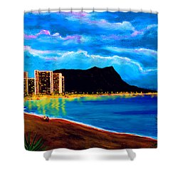 Diamond Head And Waikiki Beach By Night #92 Shower Curtain by Donald k Hall