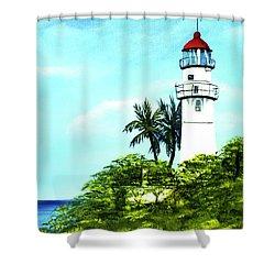 Diamond Head Lighthouse #10 Shower Curtain by Donald k Hall