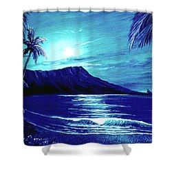 Diamond Head Moon #123 Shower Curtain by Donald k Hall