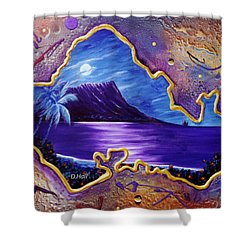 Diamond Head Moon Oahu #141 Shower Curtain by Donald k Hall