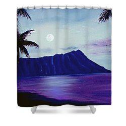 Diamond Head Moon Waikiki #34 Shower Curtain by Donald k Hall