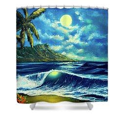 Diamond Head Moon Waikiki Beach #407 Shower Curtain by Donald k Hall