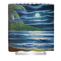 Diamond Head Moon Waikiki Beach  #409 Shower Curtain by Donald k Hall